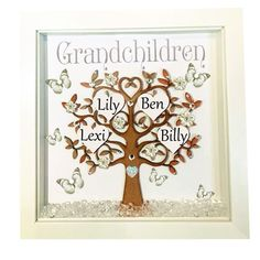 Personalised Family Tree 3d Box Frame Grandchildren Christmas Glitter BF226 3d   Home, Furniture & DIY, Home Decor, Photo & Picture Frames   eBay!