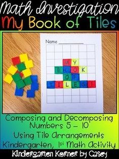 This NO PREP Book of Tiles Math Number Composition Book is the perfect way to introduce composing and decomposing numbers 5 to 10 to your kindergarten or first grade students. Great for math centers, math workshop, or morning work! Books include a cover
