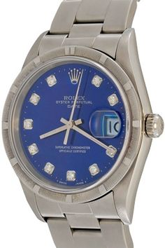 Love the blue... Mens Rolex Date Automatic Winding Wrist Watch with Blue Dial with custom Diamond markers