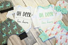 Baby boy and baby girl newborn deer outfits