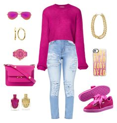 """""""Pretty in Pink"""" by loveleelove ❤ liked on Polyvore featuring Puma, Marni, Ray-Ban, McQ by Alexander McQueen, KYBOE! and Casetify"""