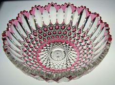 Very Rare American Cut Glass Cranberry to Clear Bowl from hobstarcutglass on Ruby Lane
