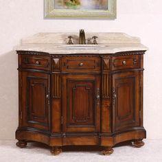 Legion Furniture White Travertine Top Medium Brown 48-inch Single Sink Bathroom Vanity - Overstock™ Shopping - Great Deals on Legion Furniture Bathroom Vanities