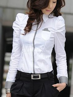 Ladylike Style Color Block Puff Sleeve Pleated Shirt Neck Slimming Shirt For Women Formal Blouses, Formal Shirts, White Shirts Women, Blouses For Women, White Women, Shirt Designs, Pleated Shirt, Shirt Skirt, Ladylike Style