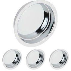 Ives Door Accessories - Solid Brass Recessed Finger Pull (Sold in a 4 Pack) in Bright Chrome - Schlage Door Hardware Small Camper Trailers, Small Campers, Finger Pull, Door Accessories, Cool Tools, Dog Bowls, Solid Brass, Modern Contemporary, Two By Two
