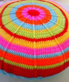 the round rainbow granny cushion by riavandermeulen, via Flickr