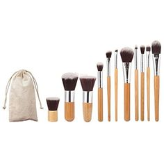 Homegifts 11 pcs Wood Handle Makeup Cosmetic Eyeshadow Foundation Concealer Brush Set Pouch ** Learn more by visiting the image link. (This is an affiliate link) #MakeupBrushesTools