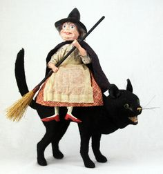 Antique German Large Black Cat Candy Container With Nodding Witch rider c1910