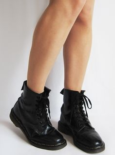 Vintage Black Leather 1970s Dr Marten Boots available to buy online at Virtual Vintage Clothing