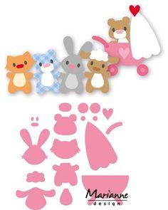 Marianne Design - Die - Collectables - Eline`s baby animals Paper Piecing Patterns, Felt Patterns, Felt Animals, Baby Animals, Felt Crafts, Paper Crafts, Marianne Design Cards, Felt Quiet Books, 3d Cards