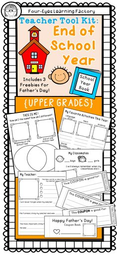 """Fun for the End of the School Year! *14 page Yearbook including cover pages for K - 2 *Class Book of Wisdom...advice for next year's students compliments of this year's students"""" *Free Father's Day activities --- foldable book, coupon book and poetry templates"""
