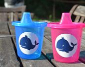 5 pink  preppy whale sippy cups
