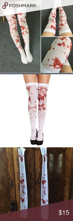 Halloween Knee High White Stockings Blood Print Womens Knee High White Halloween Stockings with Zombie Blood Print. From top to bottom (laying flat) 21inches. New with tags comes from a smoke free home! Accessories Hosiery & Socks