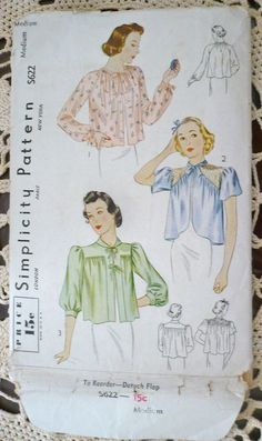 Vintage 1940s Sewing Pattern Bed Jackets  Size M by SpotsOnHerPaws, $6.50