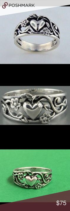RETIRED James Avery Heart /Vine Sterling Silver Size 7  Retired James Avery Jewelry Rings