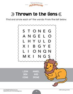 Daniel and the Lions word search puzzle | Daniel and the Lions Activity Book for kindergarten | Instant download! Bible Resources, Bible Activities, Sabbath School Lesson, Daniel And The Lions, Activity Books, Bible Words, Free Bible, Bible For Kids, Puzzles For Kids