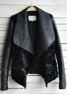 Modern Turndown Collar Long Sleeve Autumn Jacket Black | martofchina.com