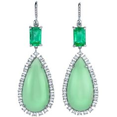 Irene Neuwirth earrings with chrysoprase, emeralds and diamonds