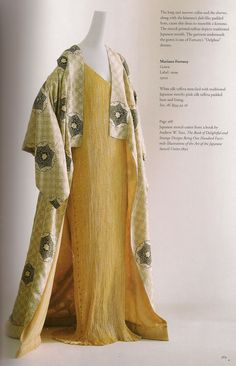Mariano Fortuny gold Delphos dress, 1910s; coat is white silk taffeta stenciled with Japanese motifs with pink silk taffeta padded hem and lining. From Kyoto Costume Institute   via The House of Beccaria.