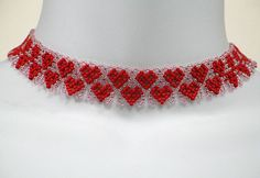 Instant Download Beading Pattern Seed Beaded Necklace Step by Step Tutorial Netting Netted Hearts Necklace Choker Toho Seed Instructions