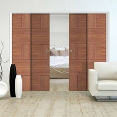 Quad Telescopic Pocket Ravenna Walnut Veneer Door - Prefinished.    #slidingdoors #contemporarydoors #telescopicdoors #interiordoors #doors