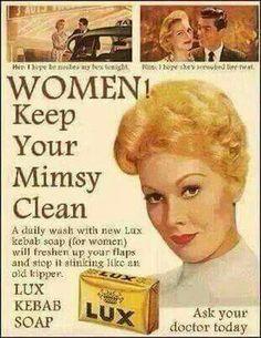 "Australia 1950's "" Her: I hope he noshes my box tonight. Him: I hope she scrubbed her twat."" Hahahaha"
