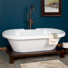 "I LOVE this: 59"" Audrey Acrylic Double Ended Tub on Rectangular Wood Platform"