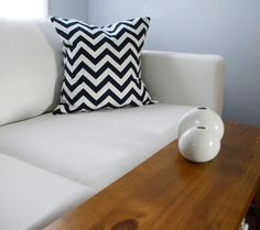 Black and White Chevron pillow for our red couch!