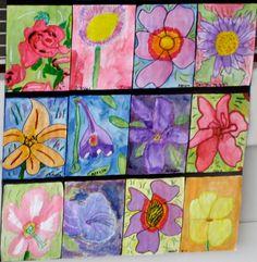 Fourth graders were introduced to Georgia O& enlarged flower paintings. They selected their own flower to study. Students were enco. Georgia O'keefe Art, 5th Grade Art, Spring Art, Summer Art, Kindergarten Art, Art Programs, Art Classroom, Art Plastique, Elementary Art