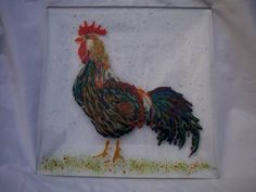 Rooster plate - GLASS CRAFTS