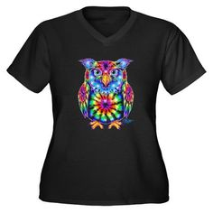 Tie Dye Owl Women's Plus Size V-Neck Dark T-Shirt