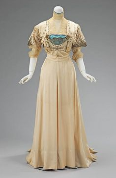 Metallic Lace Accented Evening Dress, ca. 1908-10