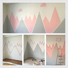 Kids room wall painting - mountains (step by step)