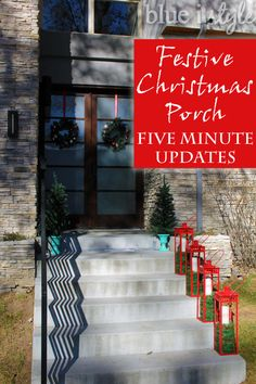 Two quick, five minute updates upped the style of this modern red and teal Christmas porch!