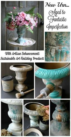 New Urn.Aged to Fabulous Imperfection! - Artisan Enhancements - New Urn….Aged to Fabulous Imperfection Informations About New Urn…Aged to Fabulous Imperfection! Patina Paint, Paint Brass, Diy And Crafts, Arts And Crafts, Deco Floral, Paint Furniture, Diy Painting, Ceramic Painting, Flower Pots