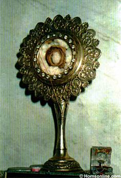 Holy Relic of the Most Blessed Virgin Mary, from her girdle (belt, cincture). It was taken from the grave of Saint Thomas the Apostle who brought it from Jerusalem to India. Now it is preserved under the guard of Jacobite Syrian Church in Homs, Syria.