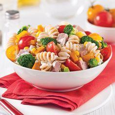 Recette: Salade de Pâtes au Jambon et Légumes - Circulaire en ligne Rice Recipes, Salad Recipes, Healthy Snacks, Healthy Recipes, Balanced Meals, World Recipes, Veggie Dishes, Pasta Salad, Salads
