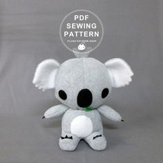 This listing is for an instant download PDF sewing pattern. Does not include finished plush.  You can make your very own plush koala bear! This