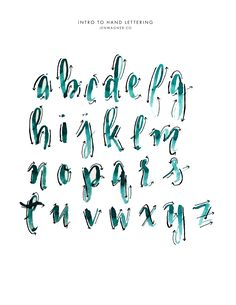 Lowercase Letter Brush Hand Lettering Guide