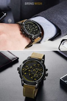 This beautiful fashion leather men's watch mechanism is powered by a quartz chronograph movement, supporting: dual-time zone, date, hour, minute, second functions. Shop Now with Free Shipping Worldwide. #fashionwatches #leatherwatches #watchesonline #militarywatches