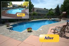 This In Ground Vinyl Liner Pool Was Updated With A New