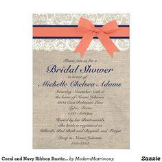 Coral and Navy Ribbon Rustic Bridal Shower Card