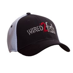 Wired2fish Black with White Mesh Hat