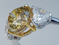 2.50 Ct Fancy Color Diamond Three Stone Engagement Ring - Antique Jewelry   Vintage Rings   Faberge Eggs
