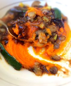 Simple carrot mash with balsamic glaze gravy and vegetables = easy midweek meal