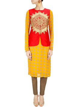 Grey and mustard checkered kurta set with red and gold embroidered jacket BY NIDHI AGARWAL. Shop now at: www.perniaspopups... #perniaspopupshop #designer #stunning #fashion #style #beautiful #happyshopping #love #updates