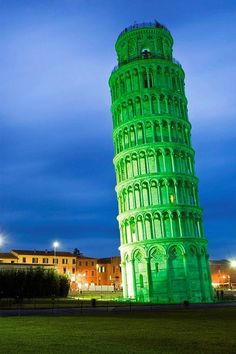 Happy St. Patrick's Day from the Leaning Tower of Pisa, Pisa, Italy. The world is lighting up its famous monuments to join with the Irish Nation to celebrate their national holiday. It's a 3 day event in Dublin, Republic of Irealnd.