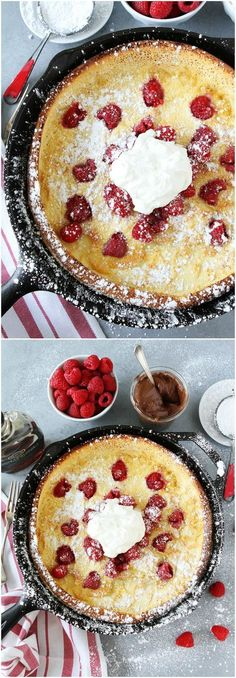 Raspberry Dutch Baby Pancake Recipe on http://twopeasandtheirpod.com This puffy baked pancake is dotted with fresh raspberries, dusted with powdered sugar, and topped with whipped cream. It is a real breakfast treat!