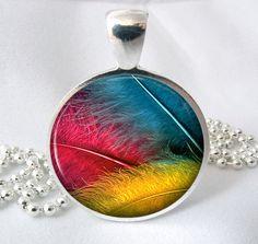 Bright Feather Resin Jewelry Pendant Feather Art Photo Charm Resin Pendant Glass Pendant(0197). $8.95, via Etsy.