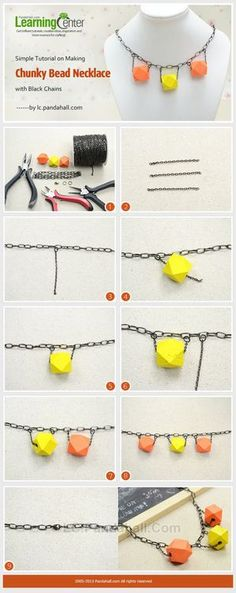 Simple Tutorial on Making Chunky Bead Necklace with Black Chains